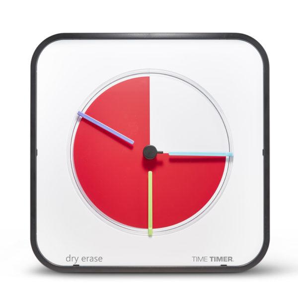 Time Timer MAX med tre tidsmarkörer på en vit urtavla.