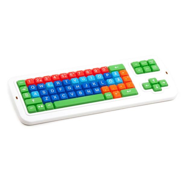 Clevy tangentbord med stora tydliga tangenter i olika färger som hjälper användaren att lära sig använda ett tangentbord.