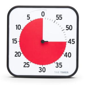 Time Timer Large är ett visuellt tidshjälpmedel med en röd skiva som räknar ner tiden.