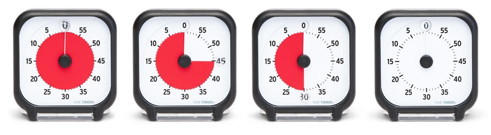 Fyra olika Time Timer Pocket visar hur tiden räknas ner med hjälp av en röd skiva som försvinner allteftersom tiden går.