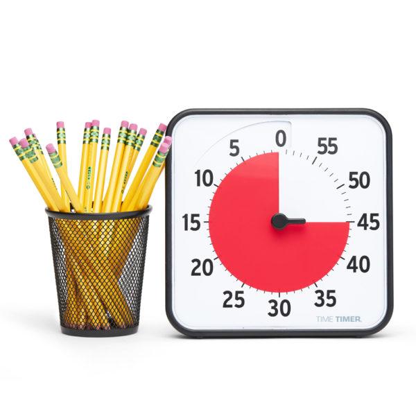 Time Timer Medium och gula blyertspennor som jämförelse av storleken
