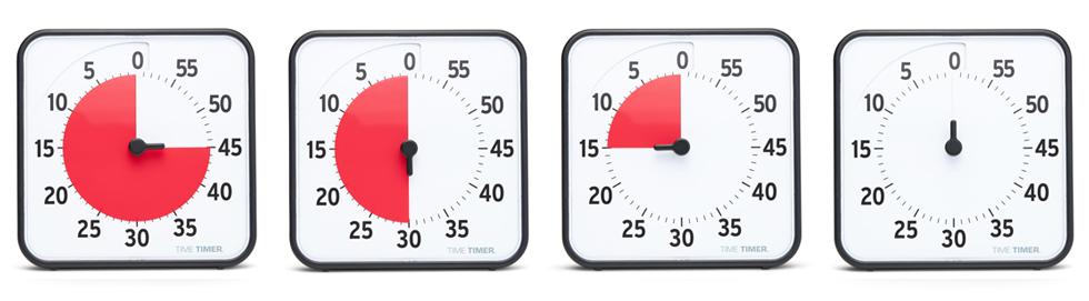 Time Timer Medium är ett visuellt tidshjälpmedel där en röd skiva räknar ner tiden